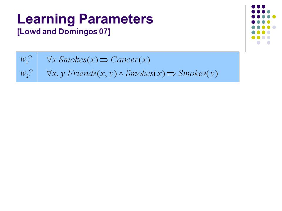 Learning Parameters [Lowd and Domingos 07]
