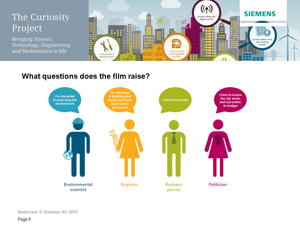 Restricted © Siemens AG 2015 Page 9 What questions does the film raise?