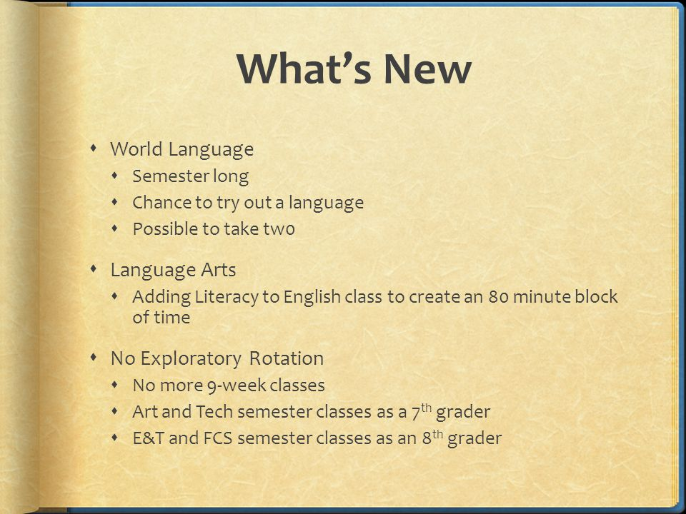 What's New  World Language  Semester long  Chance to try out a language  Possible to take tw0  Language Arts  Adding Literacy to English class to create an 80 minute block of time  No Exploratory Rotation  No more 9-week classes  Art and Tech semester classes as a 7 th grader  E&T and FCS semester classes as an 8 th grader