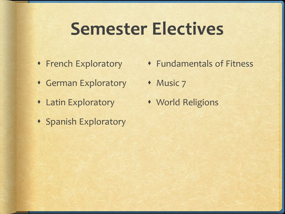 Semester Electives  French Exploratory  German Exploratory  Latin Exploratory  Spanish Exploratory  Fundamentals of Fitness  Music 7  World Religions