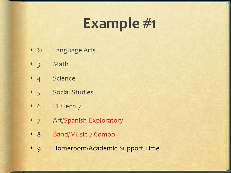 Example #1  ½Language Arts  3Math  4Science  5 Social Studies  6PE/Tech 7  7Art/Spanish Exploratory  8Band/Music 7 Combo  9Homeroom/Academic Support Time