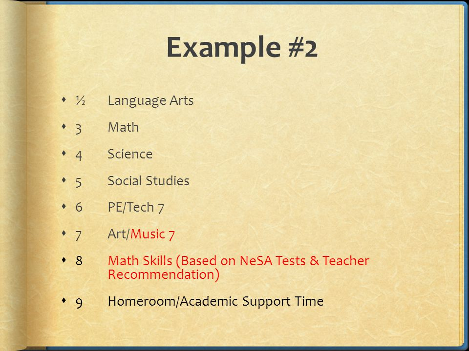 Example #2  ½Language Arts  3Math  4Science  5 Social Studies  6PE/Tech 7  7Art/Music 7  8Math Skills (Based on NeSA Tests & Teacher Recommendation)  9Homeroom/Academic Support Time