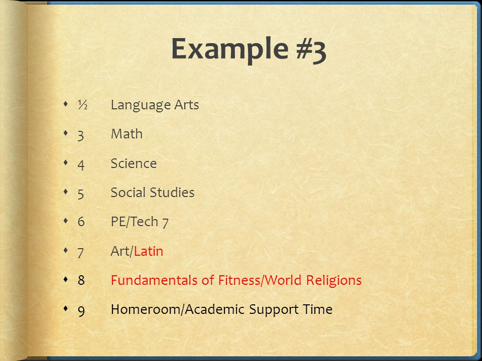 Example #3  ½Language Arts  3Math  4Science  5 Social Studies  6PE/Tech 7  7Art/Latin  8Fundamentals of Fitness/World Religions  9Homeroom/Academic Support Time