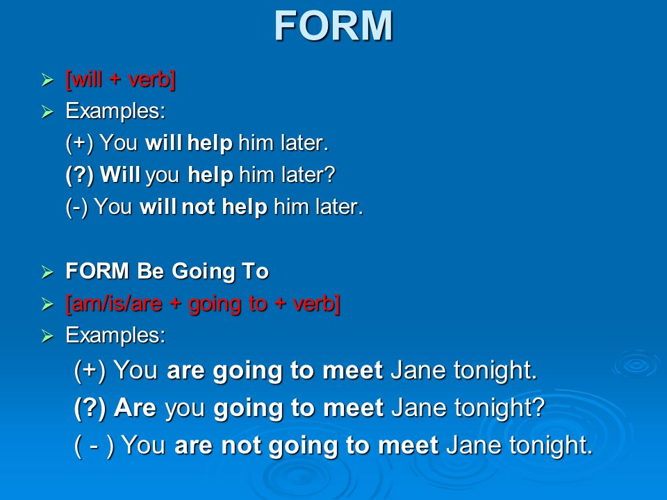 FORM  [will + verb]  Examples: (+) You will help him later.