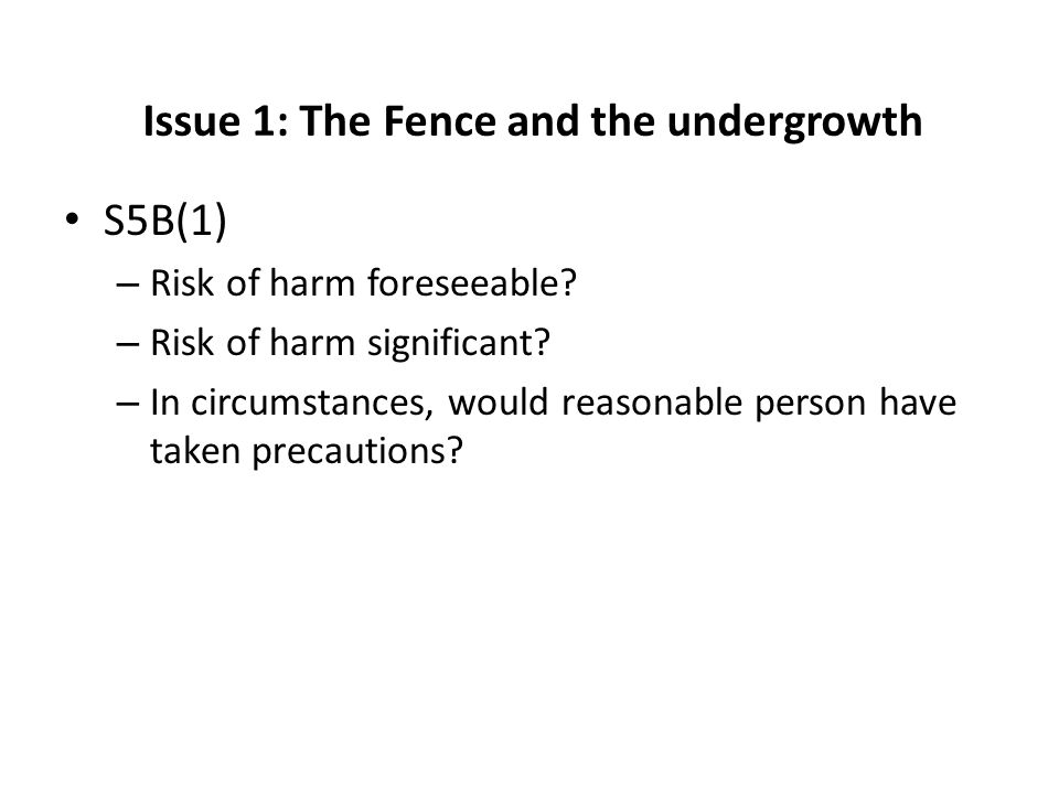Issue 1: The Fence and the undergrowth S5B(1) – Risk of harm foreseeable? – Risk of harm significant? – In circumstances, would reasonable person have