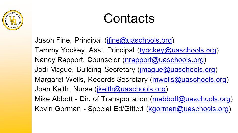 Contacts Jason Fine, Principal (jfine@uaschools.org)jfine@uaschools.org Tammy Yockey, Asst.