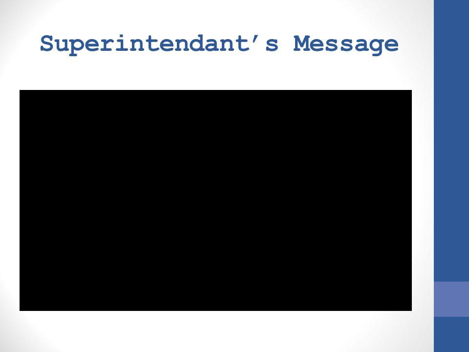 Superintendant's Message