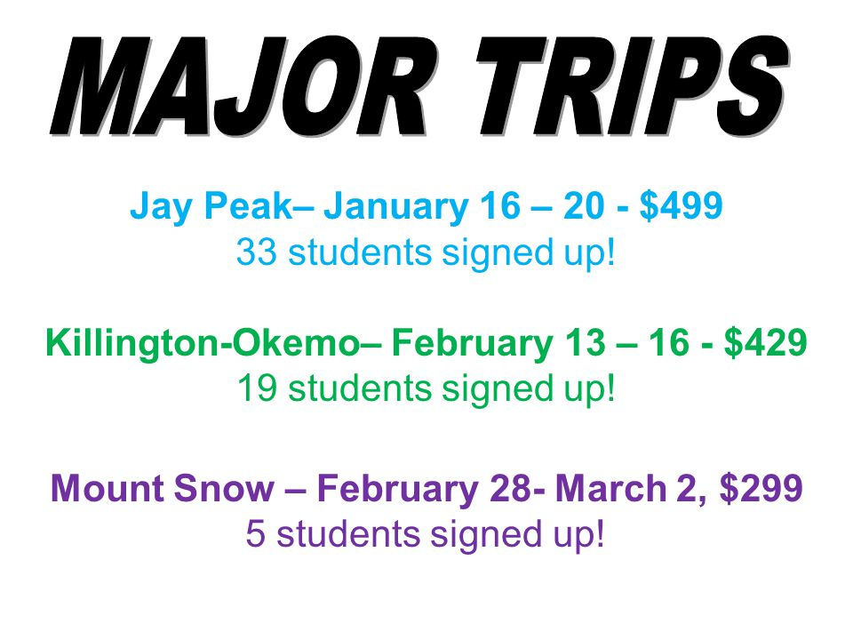 Jay Peak– January 16 – 20 - $499 33 students signed up.