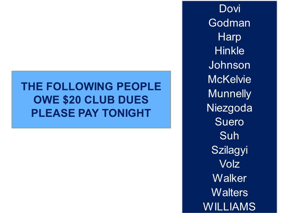THE FOLLOWING PEOPLE OWE $20 CLUB DUES PLEASE PAY TONIGHT