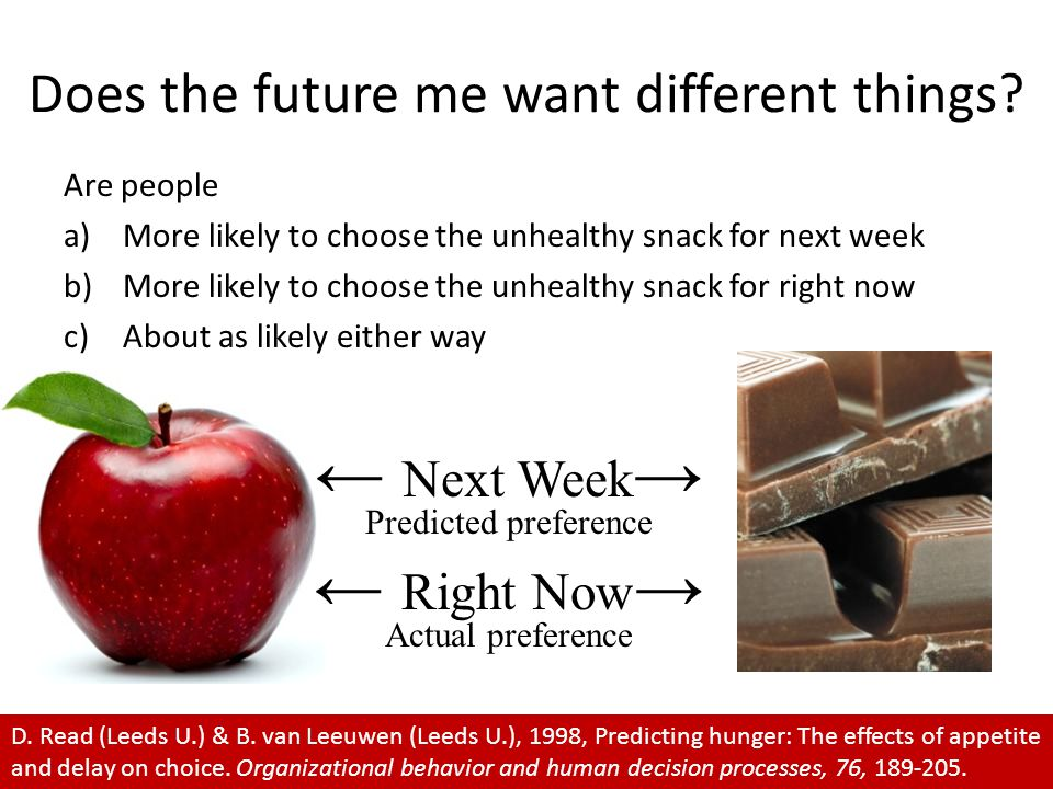 Are people a)More likely to choose the unhealthy snack for next week b)More likely to choose the unhealthy snack for right now c)About as likely either way Does the future me want different things.