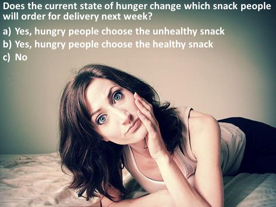 Does the current state of hunger change which snack people will order for delivery next week.