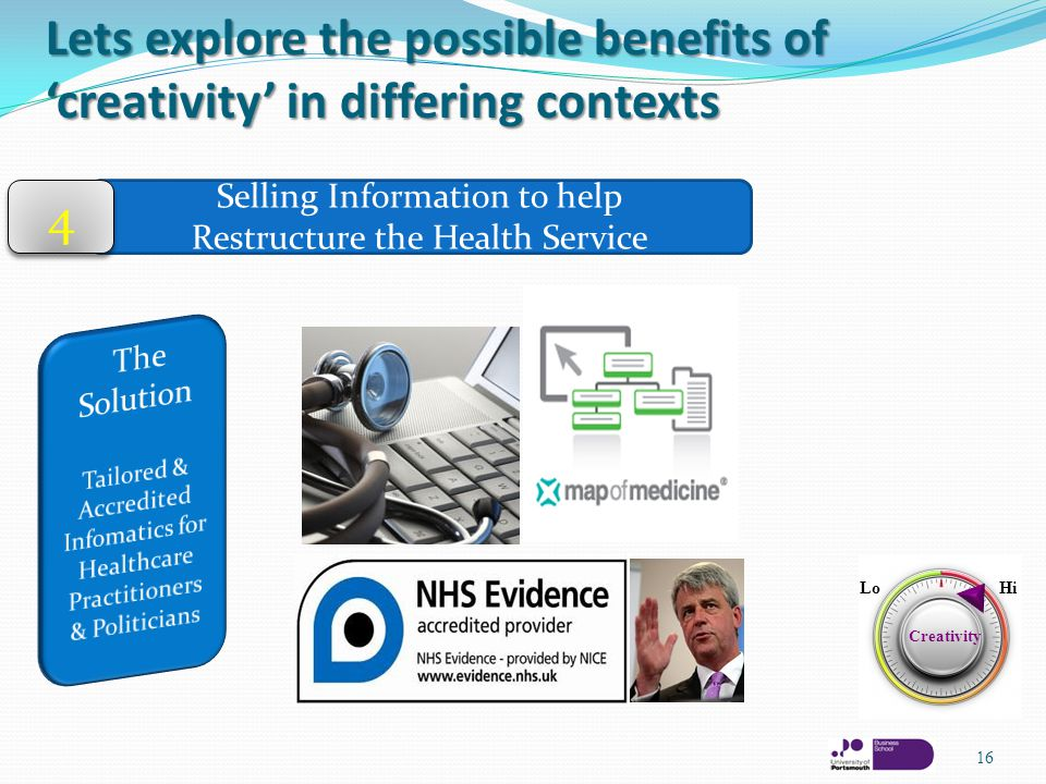 Lets explore the possible benefits of 'creativity' in differing contexts 16 Selling Information to help Restructure the Health Service 4 4 Creativity LoHi