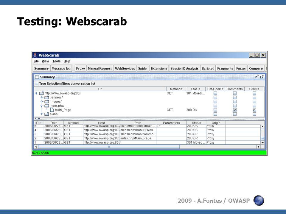 2009 - A.Fontes / OWASP Testing: Webscarab