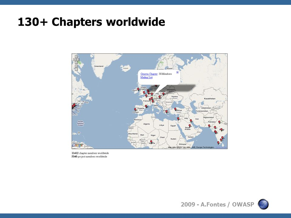 2009 - A.Fontes / OWASP 130+ Chapters worldwide
