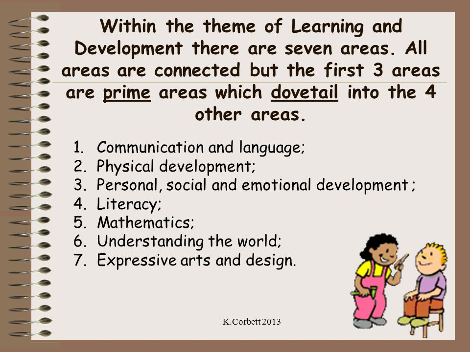 Within the theme of Learning and Development there are seven areas. All areas are connected but the first 3 areas are prime areas which dovetail into