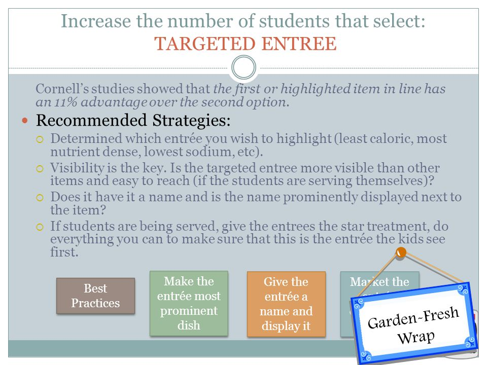 Increase the number of students that select: TARGETED ENTREE Cornell's studies showed that the first or highlighted item in line has an 11% advantage over the second option.