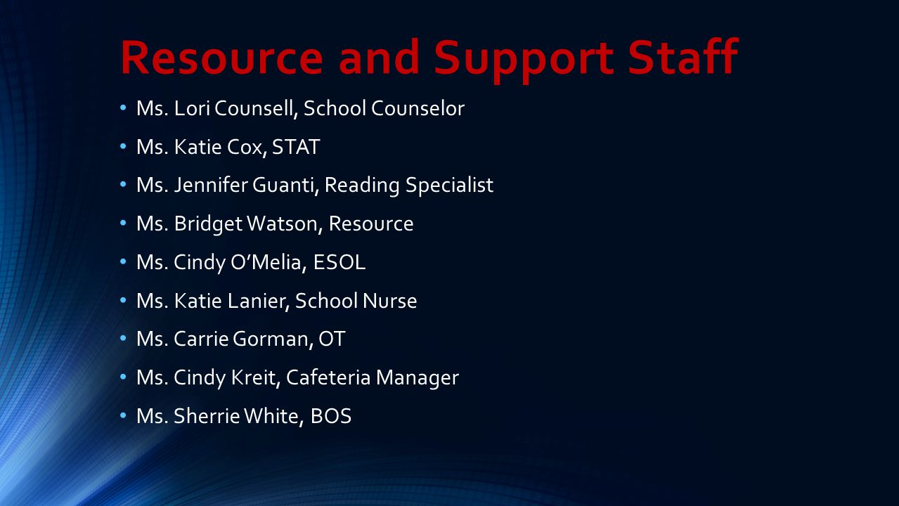 Resource and Support Staff Ms. Lori Counsell, School Counselor Ms. Katie Cox, STAT Ms. Jennifer Guanti, Reading Specialist Ms. Bridget Watson, Resourc