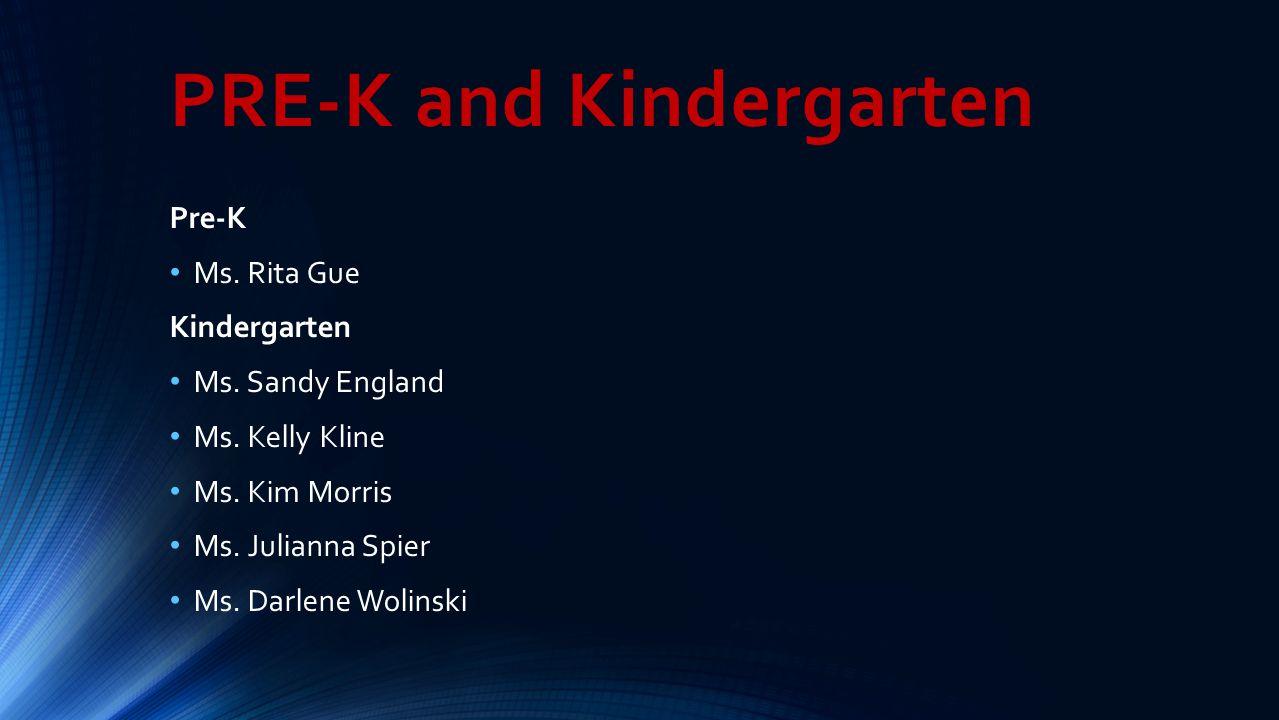 PRE-K and Kindergarten Pre-K Ms. Rita Gue Kindergarten Ms. Sandy England Ms. Kelly Kline Ms. Kim Morris Ms. Julianna Spier Ms. Darlene Wolinski