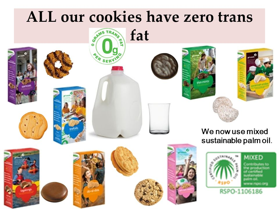 Other Varieties Thin Mints: Crisp wafers covered in chocolaty coating. Made with natural oil of peppermint. Vegan. Samoas: Crisp cookies, coated in ca