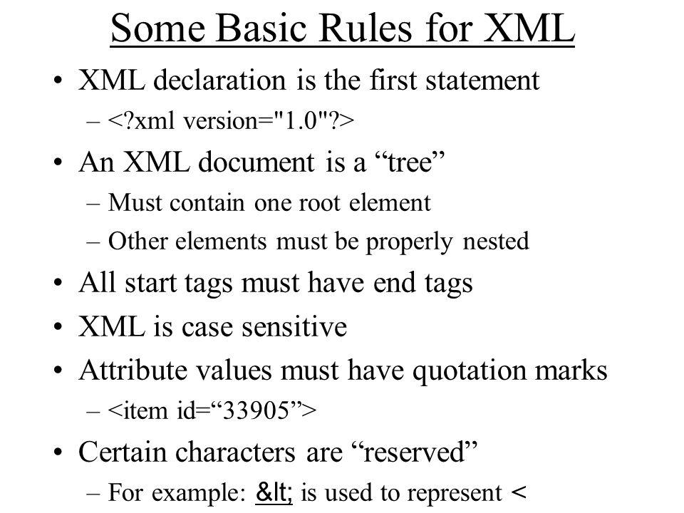 Resource Description Framework XML schema for describing resources Can integrate multiple metadata standards –Dublin Core, P3P, PICS, vCARD, … Dublin Core provides a XML namespace –DC Elements are XML properties DC Refinements are RDF subproperties –Values are XML content