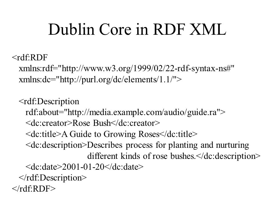 Dublin Core in RDF XML <rdf:RDF xmlns:rdf= http://www.w3.org/1999/02/22-rdf-syntax-ns# xmlns:dc= http://purl.org/dc/elements/1.1/ > <rdf:Description rdf:about= http://media.example.com/audio/guide.ra > Rose Bush A Guide to Growing Roses Describes process for planting and nurturing different kinds of rose bushes.