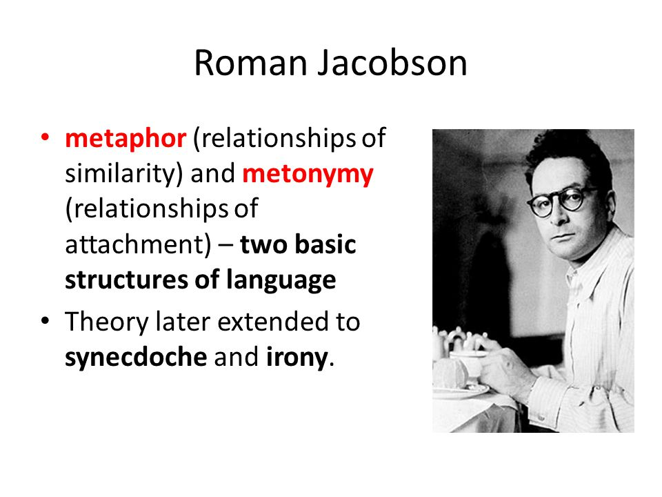 Roman Jacobson metaphor (relationships of similarity) and metonymy (relationships of attachment) – two basic structures of language Theory later extended to synecdoche and irony.
