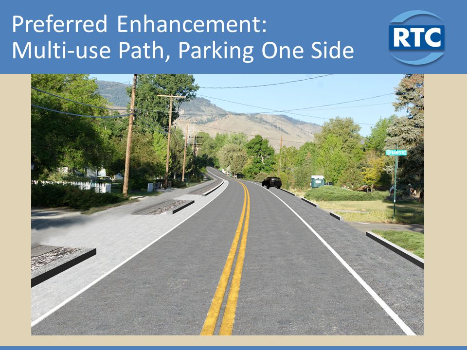 Preferred Enhancement: Multi-use Path, Parking One Side
