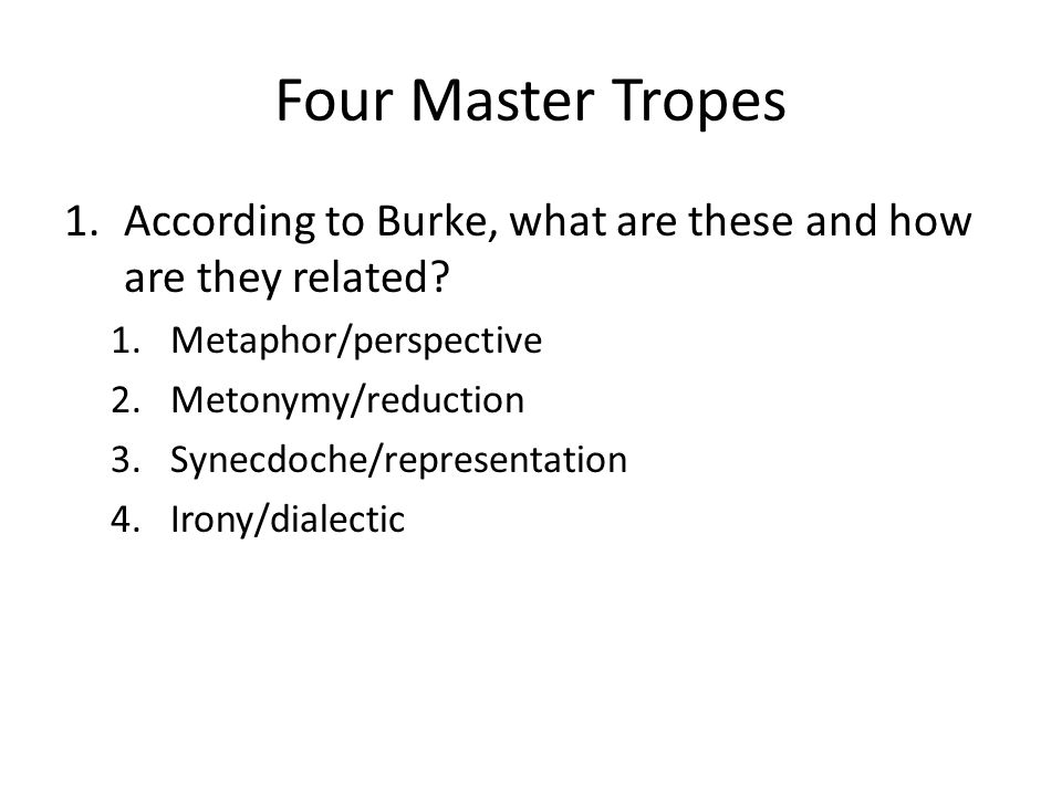 Four Master Tropes Metaphor (Perspective) – Seeing something in terms of something else Metonymy (Reduction) – Conveying something incorporeal or intangible in terms of something corporeal or tangible (science) Synecdoche (Representation) – Part for the whole; relationships of convertibility between terms Irony (Dialectic) – Universalizing or abstracting the perspectives of all the characters from the perspective of a single character.