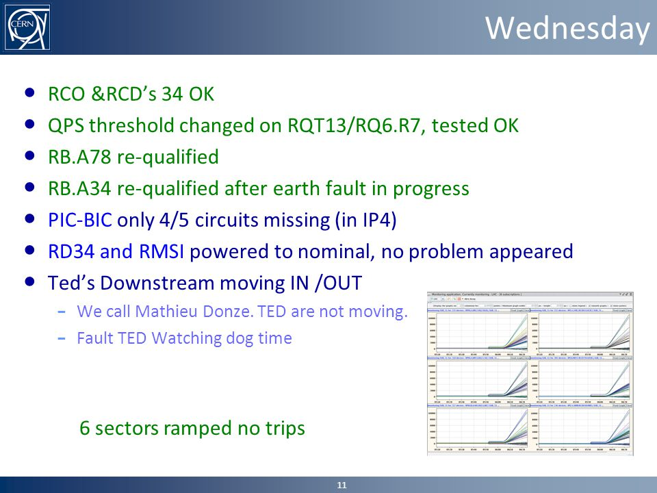 Wednesday ● RCO &RCD's 34 OK ● QPS threshold changed on RQT13/RQ6.R7, tested OK ● RB.A78 re-qualified ● RB.A34 re-qualified after earth fault in progress ● PIC-BIC only 4/5 circuits missing (in IP4) ● RD34 and RMSI powered to nominal, no problem appeared ● Ted's Downstream moving IN /OUT – We call Mathieu Donze.