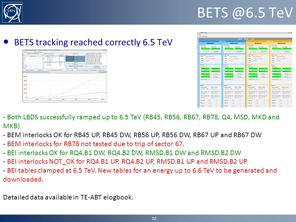 BETS @6.5 TeV ● BETS tracking reached correctly 6.5 TeV 13 - Both LBDS successfully ramped up to 6.5 TeV (RB45, RB56, RB67, RB78, Q4, MSD, MKD and MKB) - BEM interlocks OK for RB45 UP, RB45 DW, RB56 UP, RB56 DW, RB67 UP and RB67 DW - BEM interlocks for RB78 not tested due to trip of sector 67.