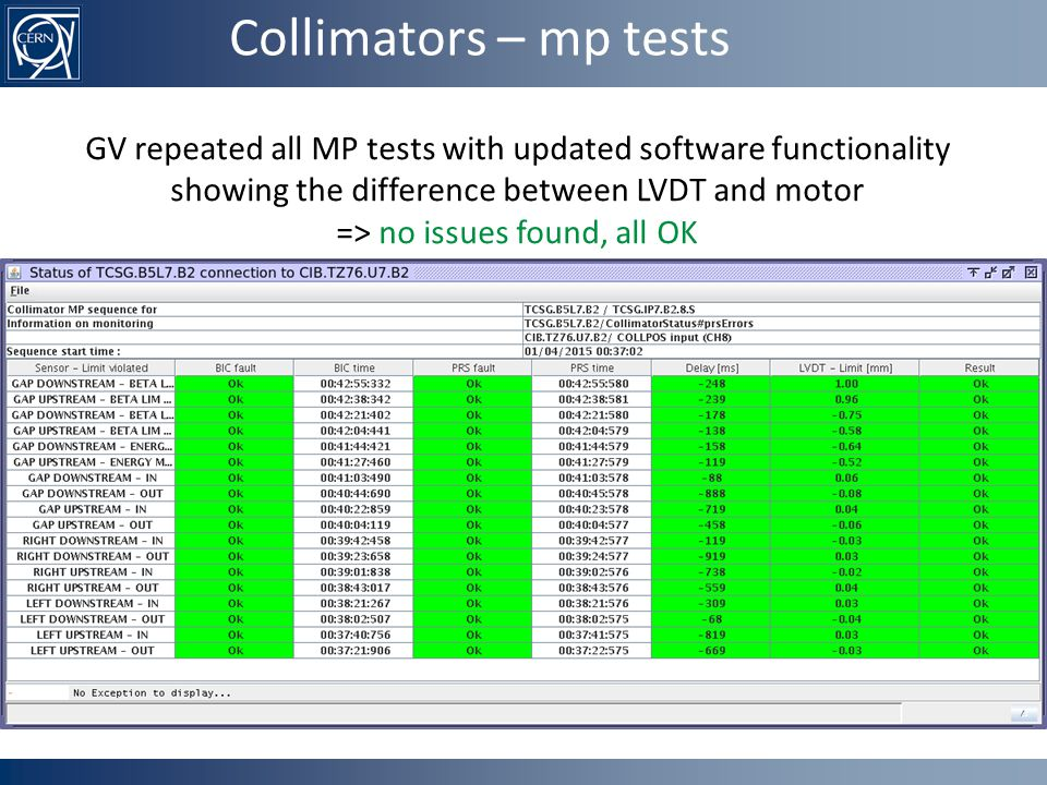 Collimators – mp tests GV repeated all MP tests with updated software functionality showing the difference between LVDT and motor => no issues found, all OK