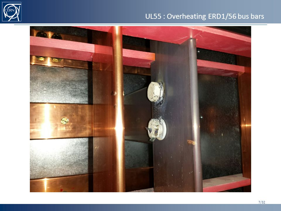 UL55 : Overheating ERD1/56 bus bars 7/32