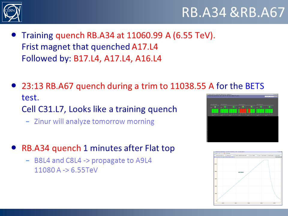 RB.A67 trip during BETS test RB.67 tripped during a trim to 11038.55 A for BETS test Quench: cell C31.L7, magnet C30L7 T up to 24.3K => estimate: 7 h to recover cryogenics conditions