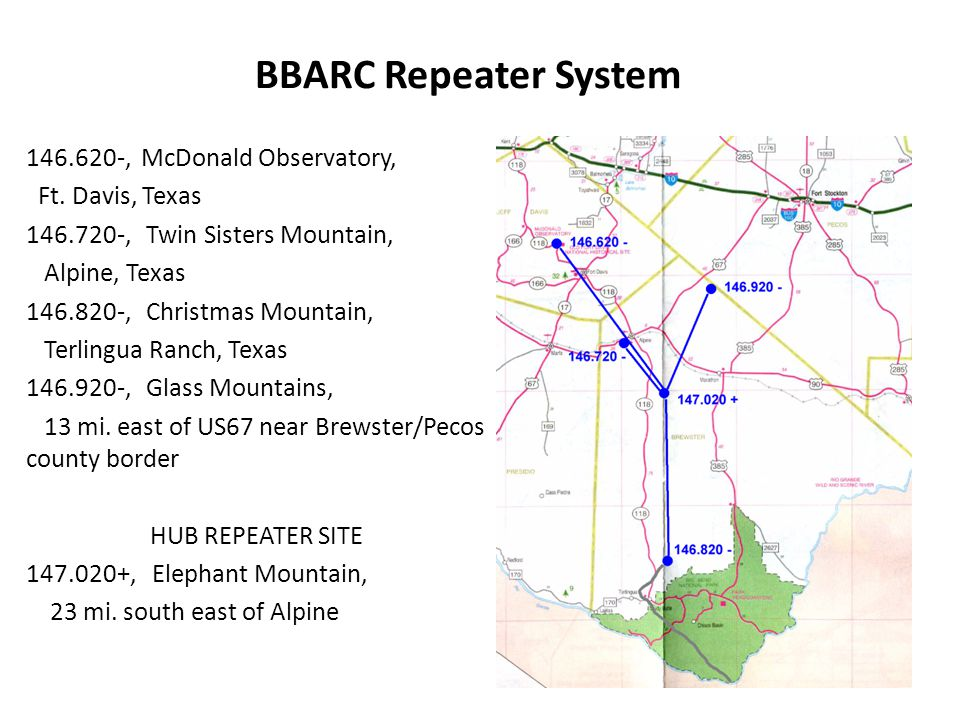 BBARC Repeater System 146.620-, McDonald Observatory, Ft.