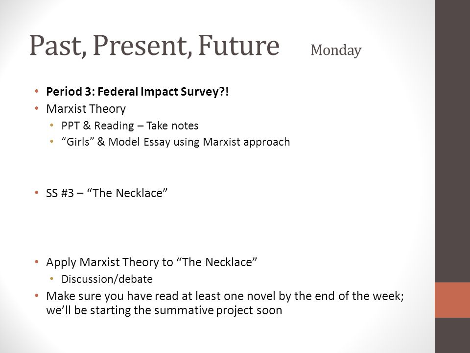 """Past, Present, Future Monday Period 3: Federal Impact Survey?! Marxist Theory PPT & Reading – Take notes """"Girls"""" & Model Essay using Marxist approach"""