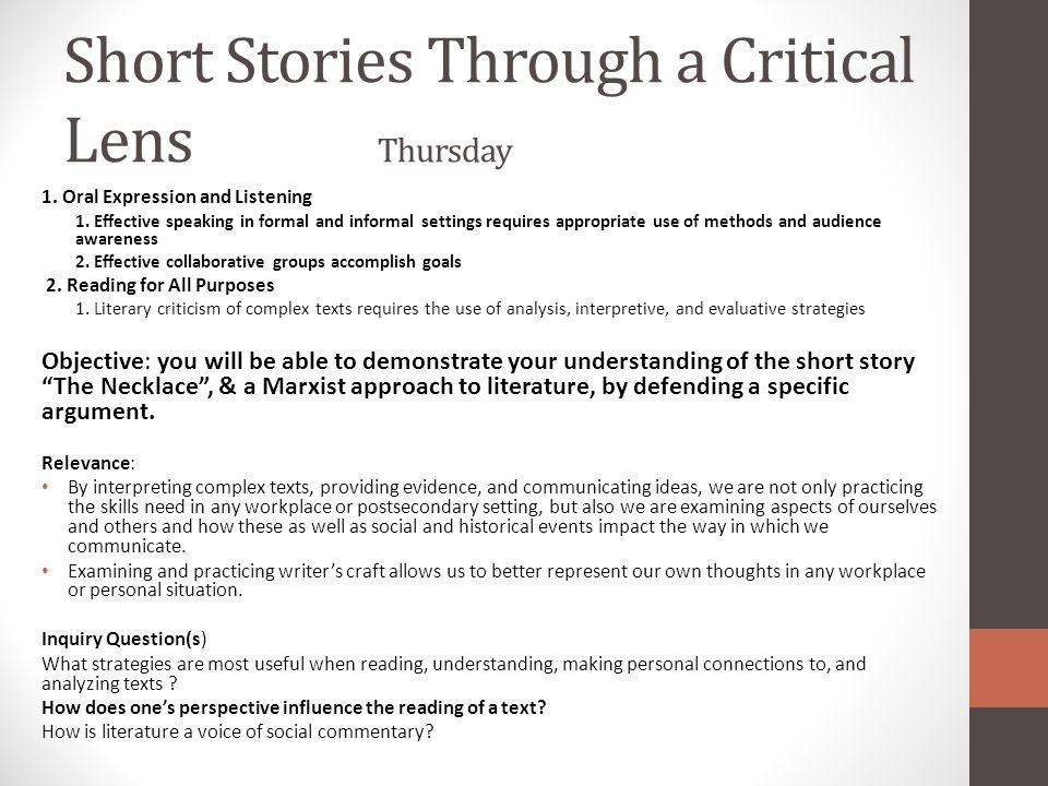 Short Stories Through a Critical Lens Thursday 1. Oral Expression and Listening 1. Effective speaking in formal and informal settings requires appropr
