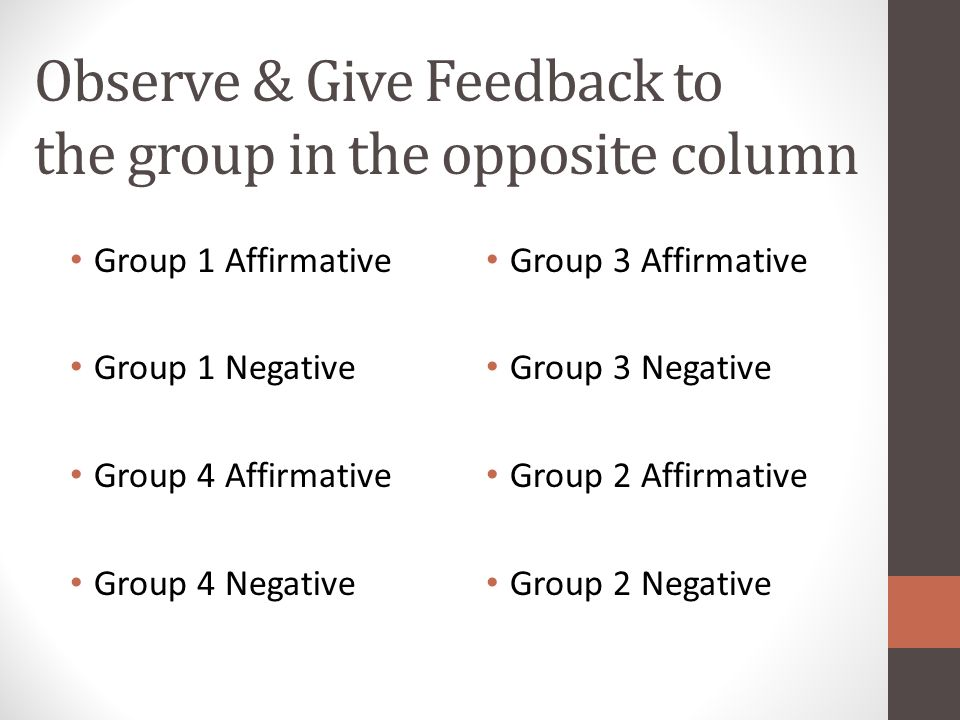 Observe & Give Feedback to the group in the opposite column Group 1 Affirmative Group 1 Negative Group 4 Affirmative Group 4 Negative Group 3 Affirmat