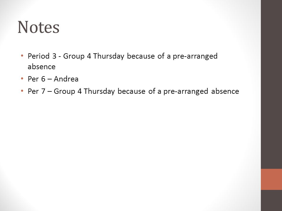 Notes Period 3 - Group 4 Thursday because of a pre-arranged absence Per 6 – Andrea Per 7 – Group 4 Thursday because of a pre-arranged absence