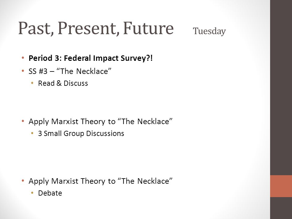 """Past, Present, Future Tuesday Period 3: Federal Impact Survey?! SS #3 – """"The Necklace"""" Read & Discuss Apply Marxist Theory to """"The Necklace"""" 3 Small G"""