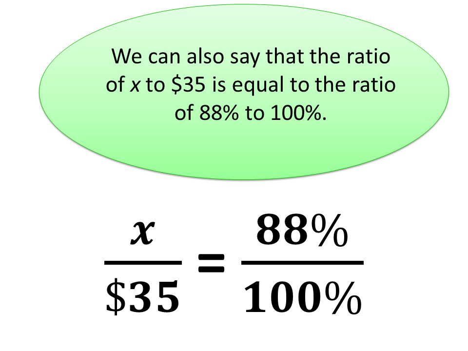 We can also say that the ratio of x to $35 is equal to the ratio of 88% to 100%.