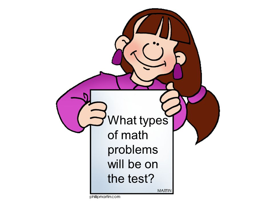 What types of math problems will be on the test?