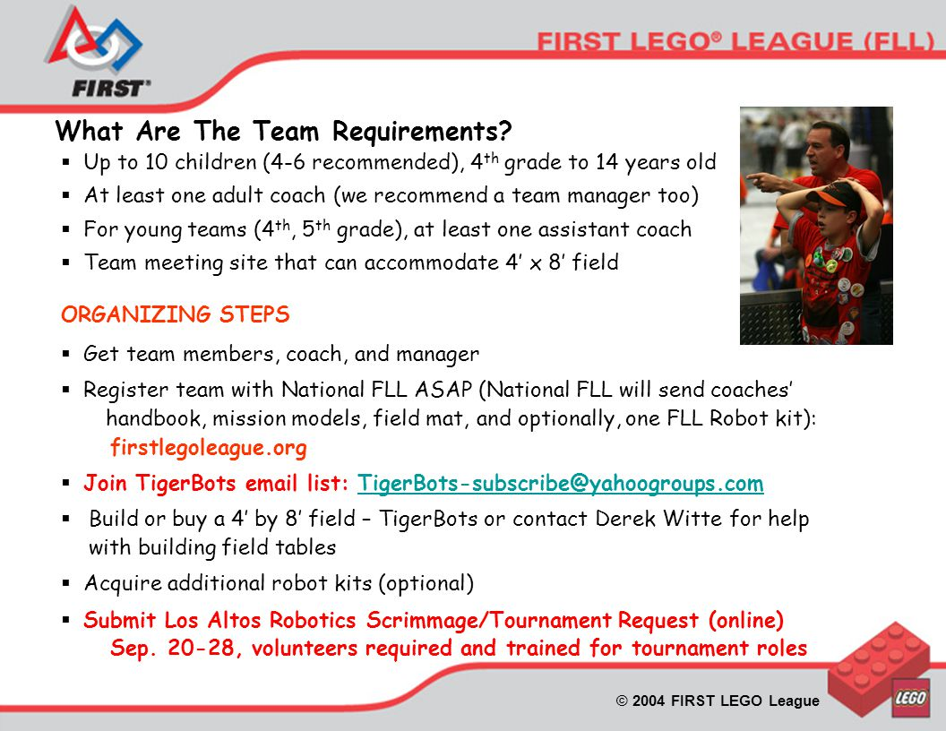 © 2004 FIRST LEGO League What Are The Team Requirements.