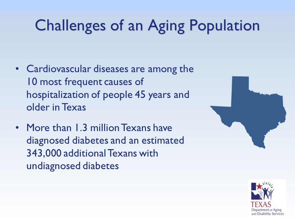 Cardiovascular diseases are among the 10 most frequent causes of hospitalization of people 45 years and older in Texas More than 1.3 million Texans ha