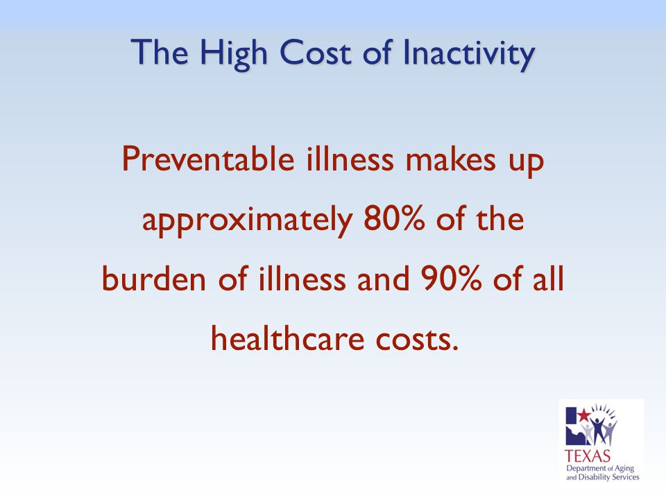 The High Cost of Inactivity Preventable illness makes up approximately 80% of the burden of illness and 90% of all healthcare costs.