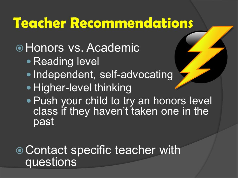 Teacher Recommendations  Honors vs.