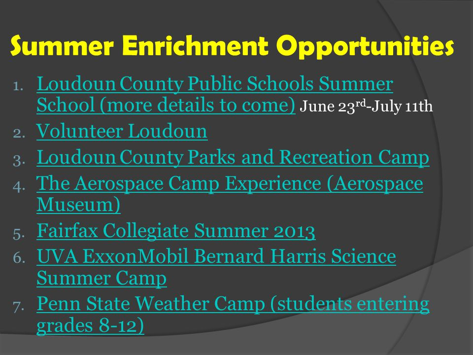 Summer Enrichment Opportunities 1.
