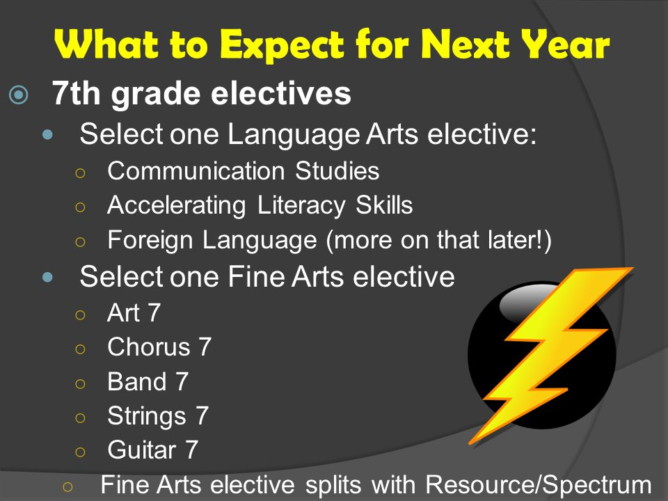What to Expect for Next Year  7th grade electives Select one Language Arts elective: ○ Communication Studies ○ Accelerating Literacy Skills ○ Foreign Language (more on that later!) Select one Fine Arts elective ○ Art 7 ○ Chorus 7 ○ Band 7 ○ Strings 7 ○ Guitar 7 ○ Fine Arts elective splits with Resource/Spectrum