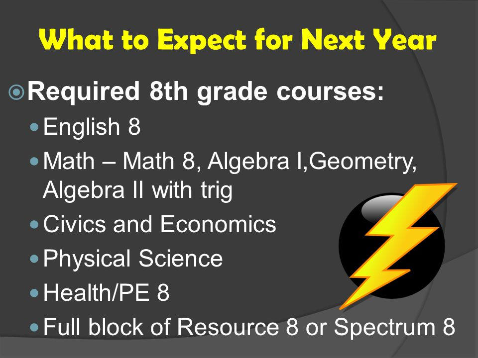 What to Expect for Next Year  Required 8th grade courses: English 8 Math – Math 8, Algebra I,Geometry, Algebra II with trig Civics and Economics Physical Science Health/PE 8 Full block of Resource 8 or Spectrum 8