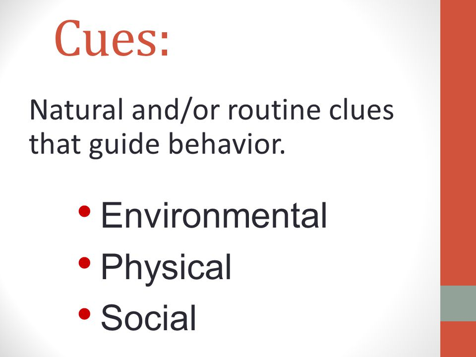 Cues: Natural and/or routine clues that guide behavior. Environmental Physical Social