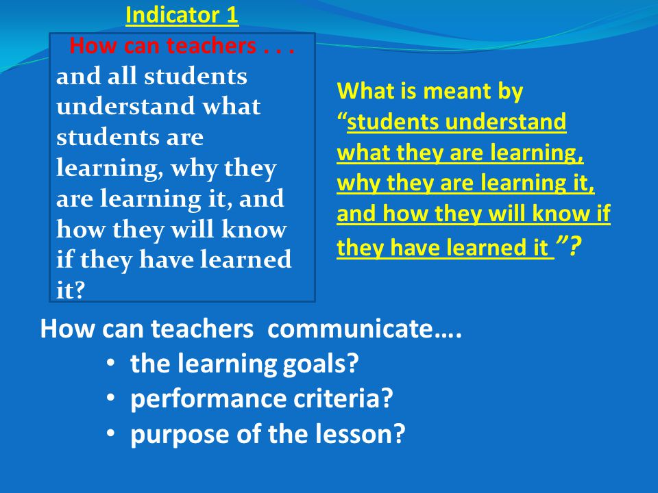 How can teachers communicate…. the learning goals.